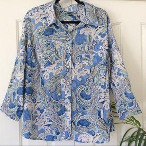 Karen Scott 3X Blue Paisley 3/4 Sleeve Top